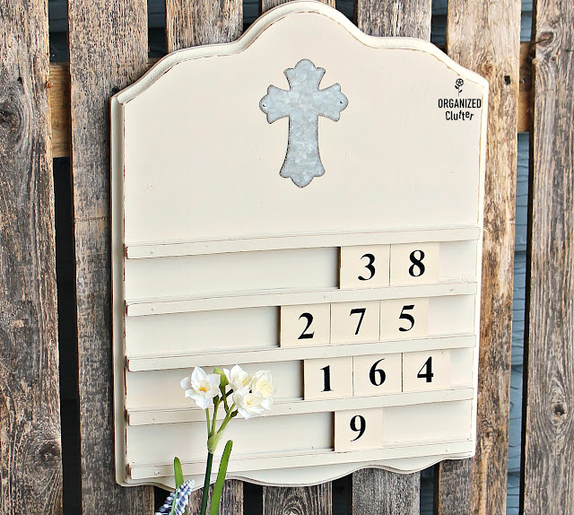 Goodwill Wooden Perpetual Calendar Repurposed As Farmhouse Style Wall Hymn Board #goodwill #thriftshopmakeover #Repurpose #upcycle #dixiebellepaint #Hymnboard