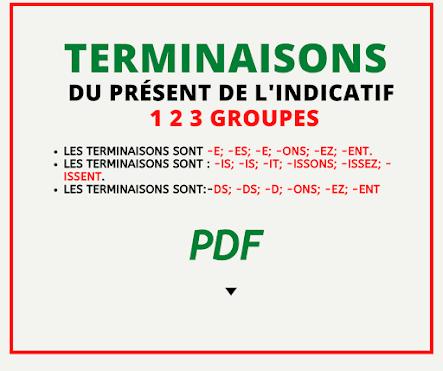 Terminaison du présent de l'indicatif  1 2 3 groupes