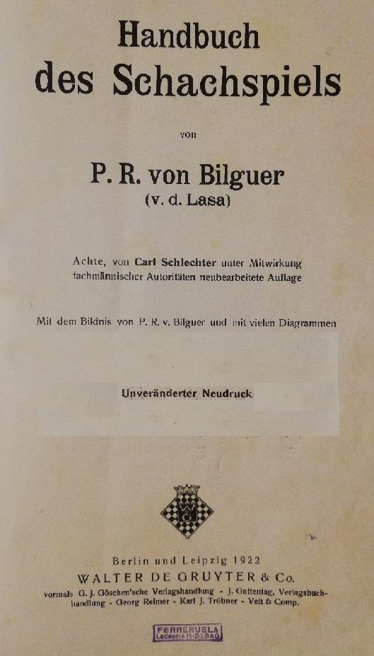 Portadilla del Handbuch des Schachspiels, Berlín 1922