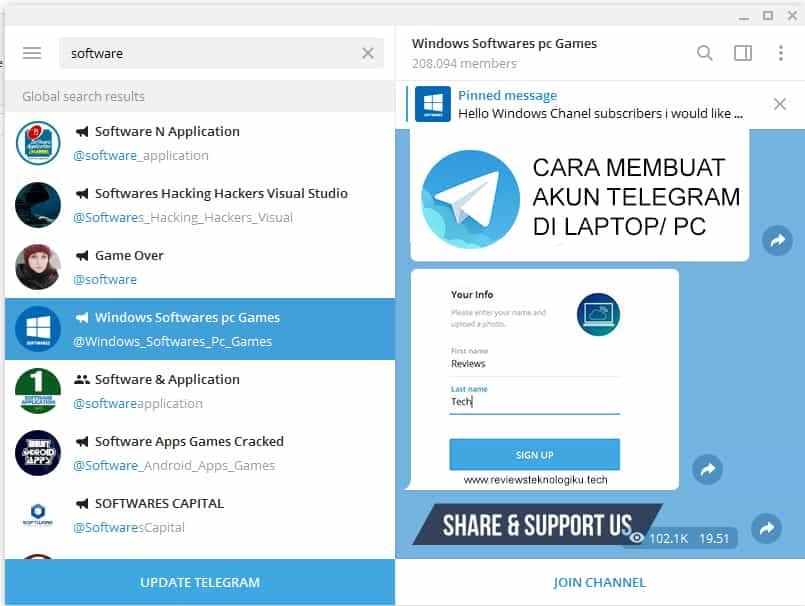 cara membuat akun telegram di laptop