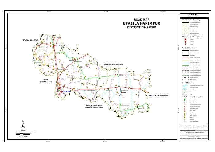 Hakimpur Upazila Road Map Dinajpur District Bangladesh