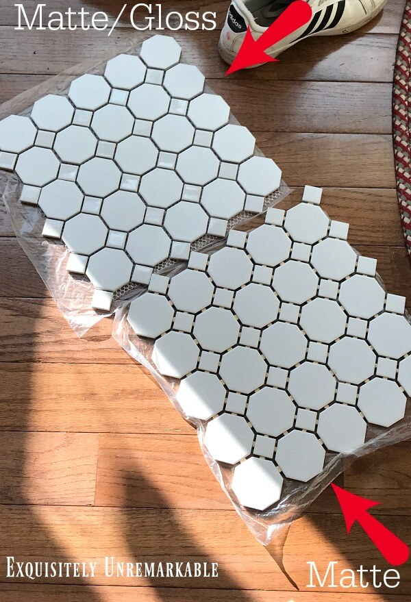Hexagon and diamond white mosaic tile squares on wood floor