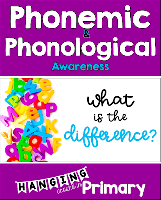 Phonological and Phonemic awareness - what is the difference? This post outlines the differences between the two terms and gives suggestions about when to teach phonemic awareness and where to start. A free screener is shared to help teachers get started.