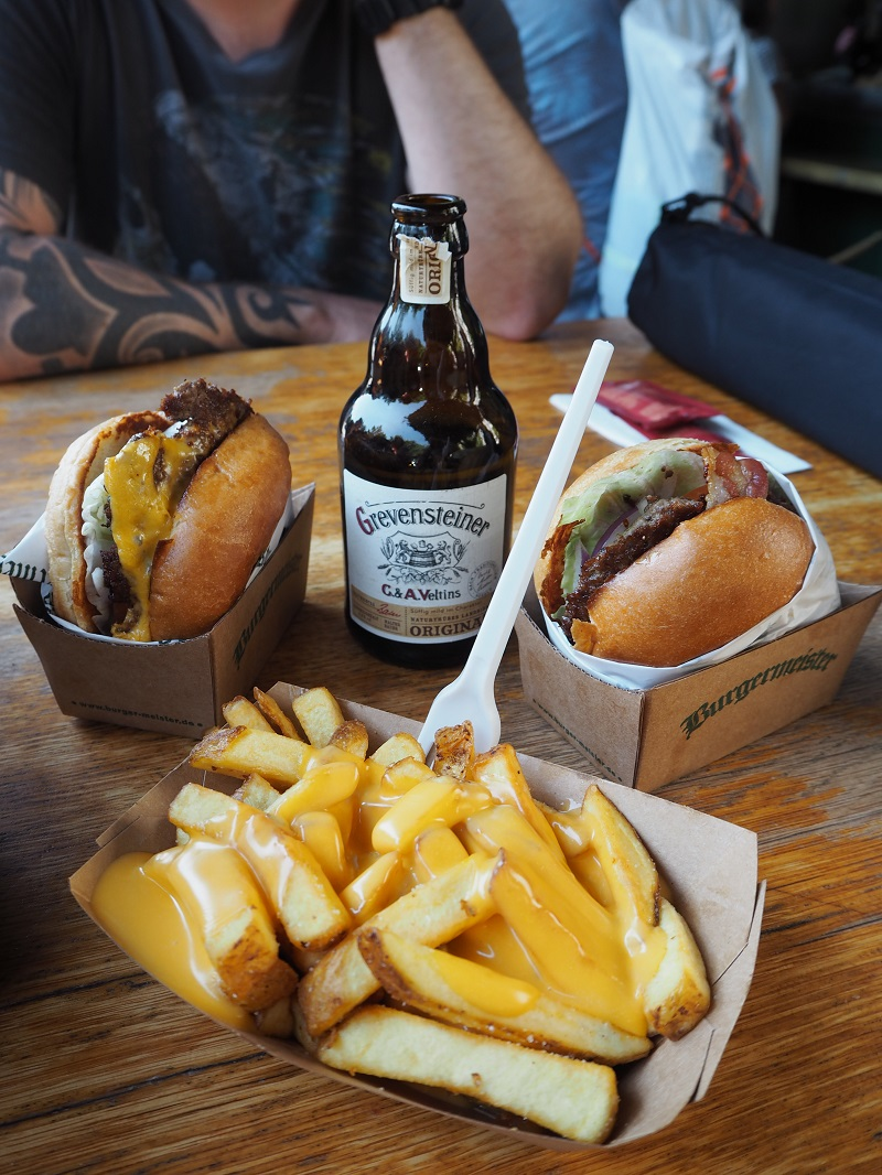 Burgers, beer and cheese fries from Burgermeister