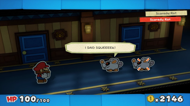 Paper Mario Color Splash Scaredy Rat I said squeek in-battle dialogue fight speech