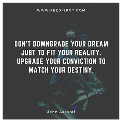 Don't downgrade your dream just to fit your reality. Upgrade your conviction to match your destiny.  __ John Assaraf