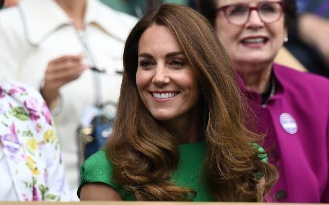 Kate Middleton wore a green denver cloqué midi dress from Emilia Wickstead. Kiki McDonough green tourmaline and green amethyst earrings