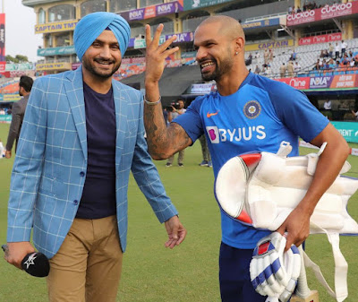 Harbajan with Shikhar Dhawan