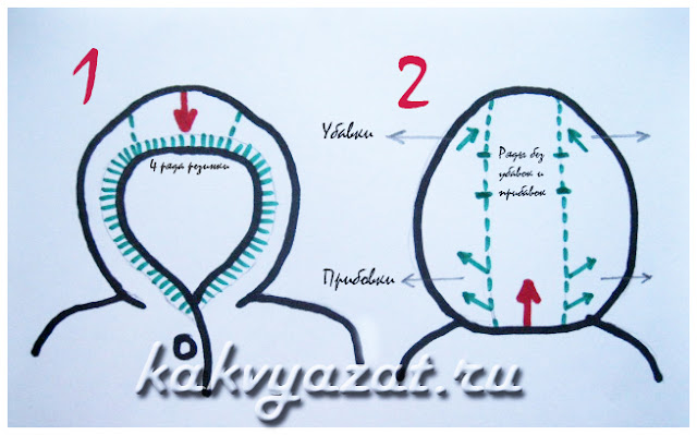 Схема-рисунок вязаного капюшона.