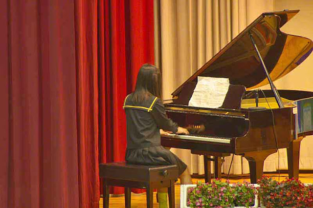 student, pianist, piano, stage, curtains, music sheet
