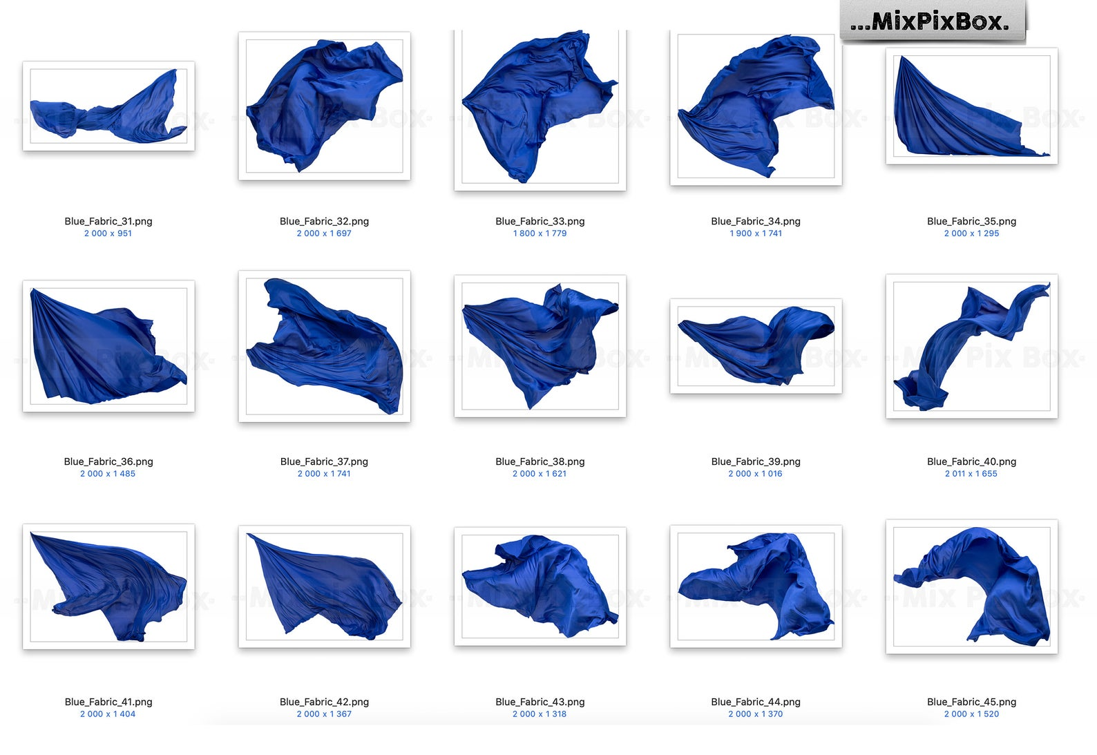 Blue Flying Fabric Overlays (PNG)