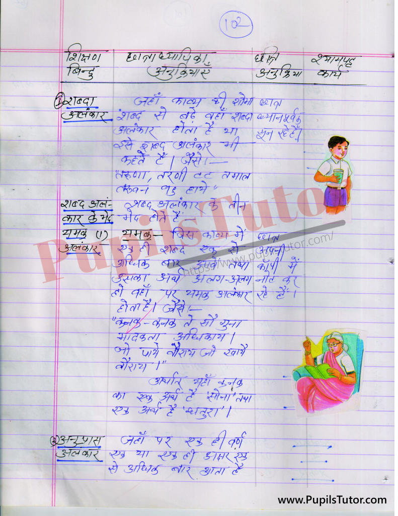 alankar par Lesson Plan in Hindi for BEd and DELED