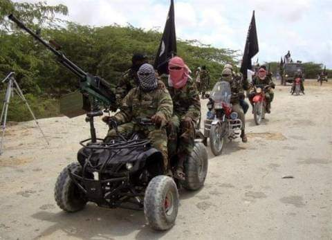 """Alt: = """"photo showing Boko Haram fighter on motorbikes holding guns and their flag"""""""