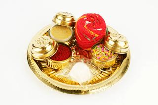 brass karwa chauth puja thali