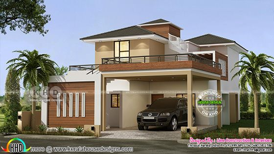 1962 sq-ft 3 BHK modern house architecture