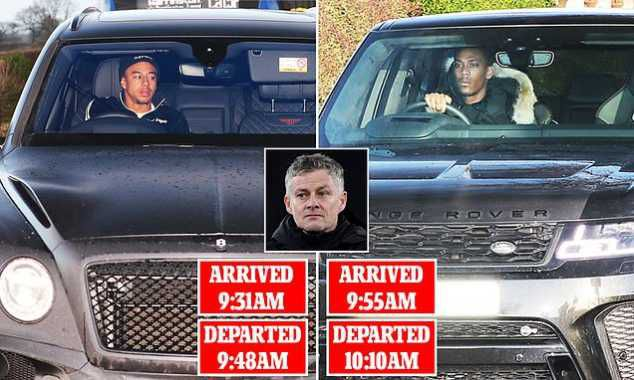 Man Utd Stars Martial And Lingard Leave Training After 15 Minutes, Solksjaer Confirms Problem!