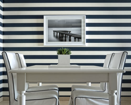 navy blue and white wall stripes
