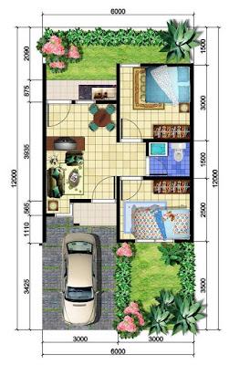 gambar denah rumah tipe 36