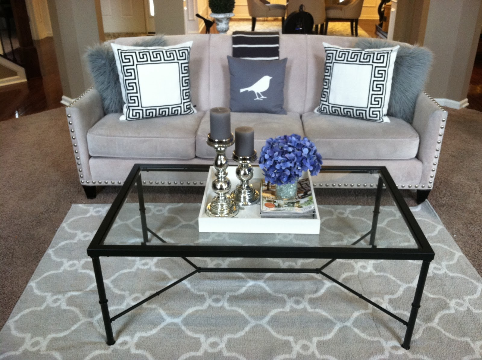 Fresh Gotta Love a Little Bling: Home Tour Sofa and Grey Trellis Rug LX52