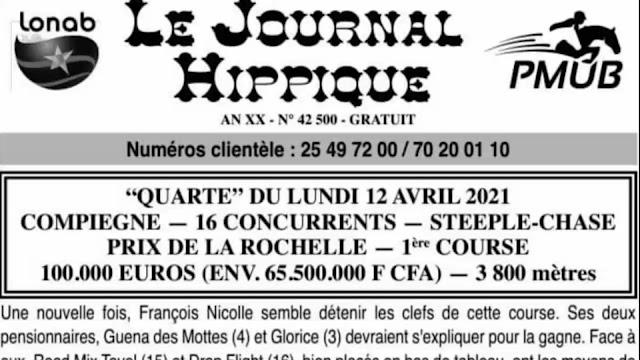 programe quinté+ pronostic lundi 12/04/2021