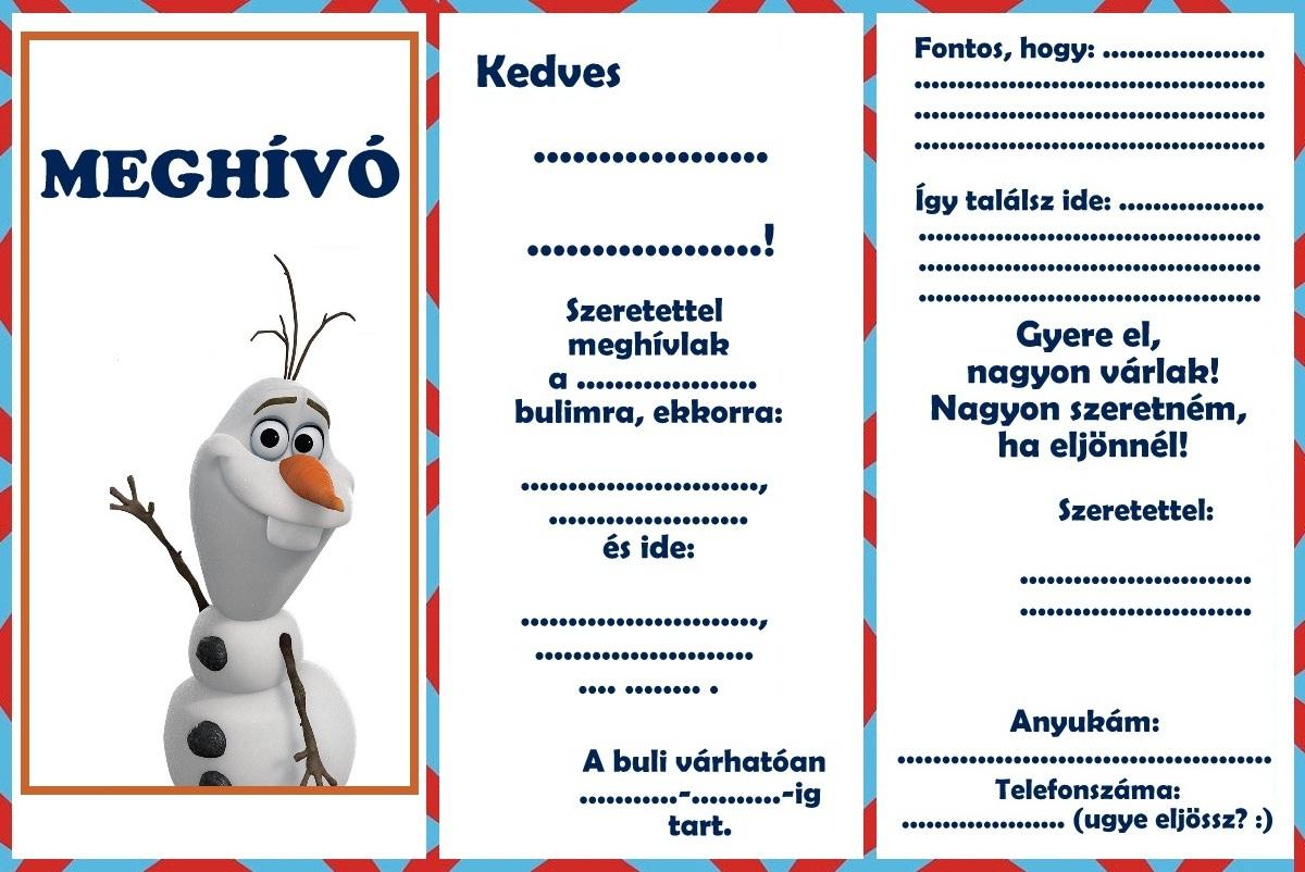 meghívó születésnapi bulira Zsúrda: Olaf születésnapi buli meghívók meghívó születésnapi bulira