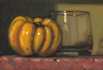 Still life oil painting of a small yellow pumpkin beside and Old Fashioned glass.