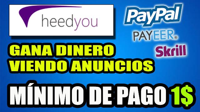 """HeedYou Cómo Funciona """"Gana Dinero Viendo Anuncios"""""""