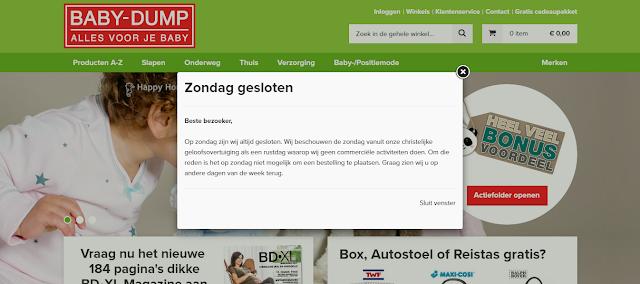 Webshop Baby-Dump op zondag gesloten