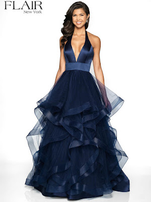 Stain Halter prom Dress Navy Color