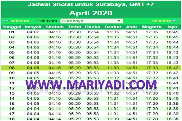 Jadwal Imsakiyah Ramadhan April 2020 Surabaya dan Sekitarnya