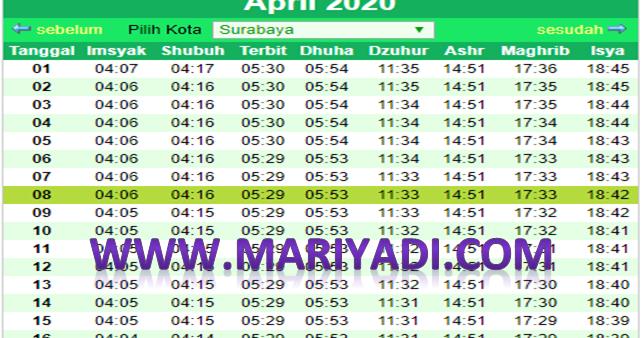 Jadwal Imsakiyah Ramadhan Mei 2020 Surabaya dan Sekitarnya ...