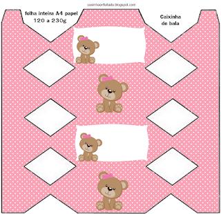 Lovely Girl Bear Free Printable Boxes.