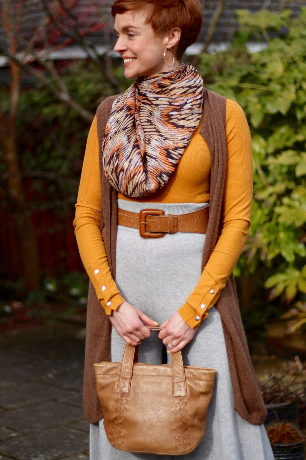 Layered Rust, Grey & Brown Spring Outfit | Fake Fabulous