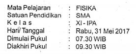 Download Contoh Soal Siap UKK/PAS/UAS Semester 2/II Kelas 11/XI SMA/MA Mapel Fisika Kurikulum 2013/K13-Peminatan-MIPA