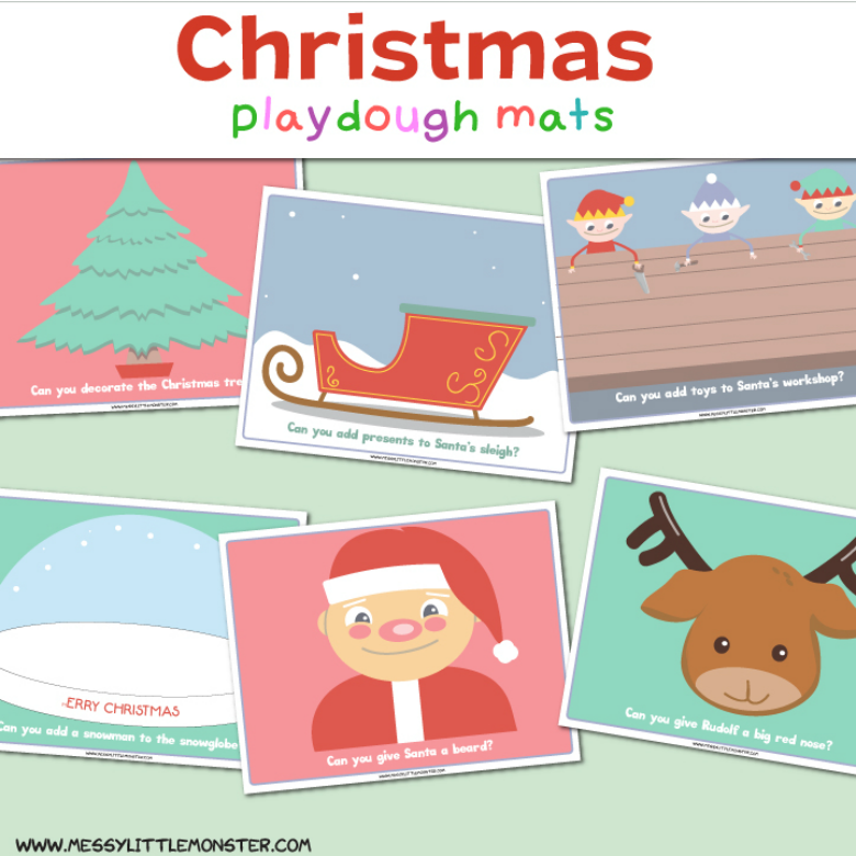 Christmas playdough mats. Fun Christmas playdough activities for kids.