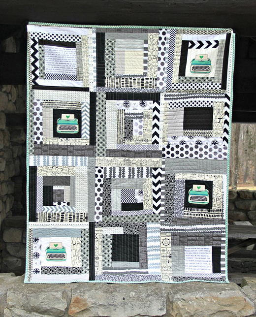 Stitched Typography Quilt designed by Maureen Cracknell of Maureen Cracknell Handmade
