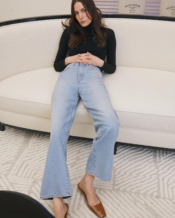 This Timeless Spring Outfit Has the Coolest Shoes — Toteme look with a black turtleneck, cropped flare jeans, and croc mule flats