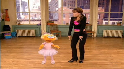 Paula Abdul wants to teach a new dance move choreography to Zoe. sesame street zoe's dance moves.