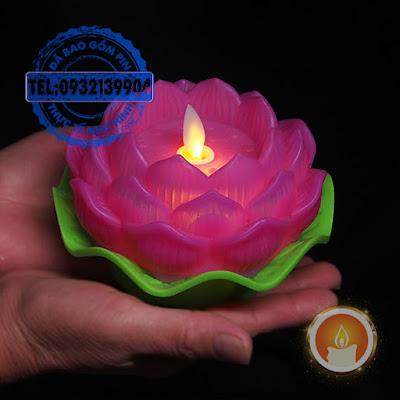 Đèn nến hoa sen điện tử tim lắc lư