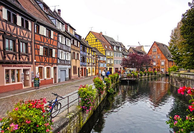 Cobblestone walkways and half-timbered houses in Colmar town