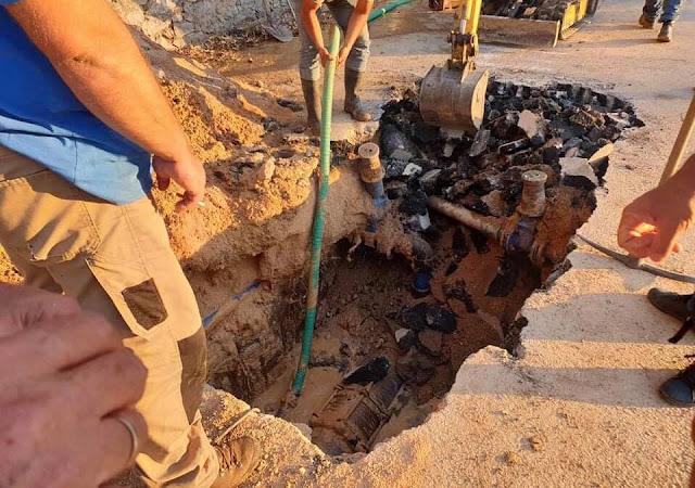 Σοβαρή βλάβη σε κεντρικό αγωγό της ΔΕΥΑ Ναυπλίου - Χωρίς νερό Τσέλο, Λευκάκια, Ασίνη και Δρέπανο