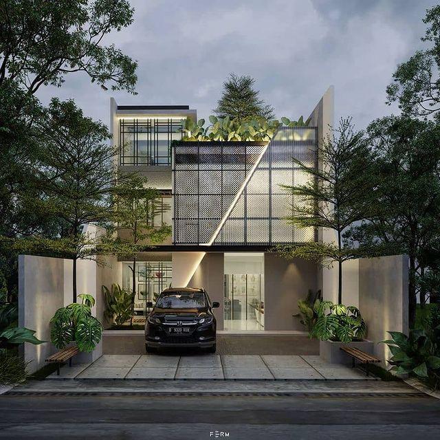 desain rumah minimalis di tanah menurun