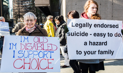 I'm old, I'm disabled, I support choice // Legally endorsed suicide - easy to do, a hazard to your family