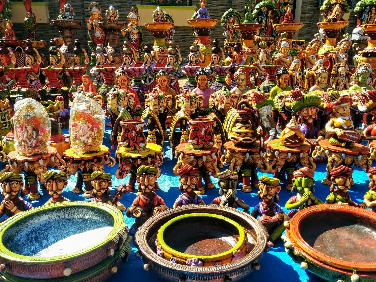 Colorful Pottery on Display at Kadalekai Parishe