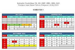 Kalender Pendidikan 2018 -2019 Jawa Barat
