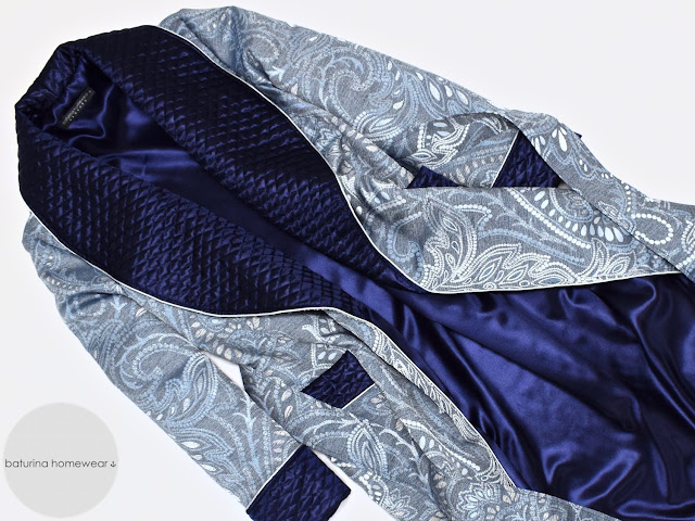 mens quilted silk dressing gown blue paisley robe smoking jacket