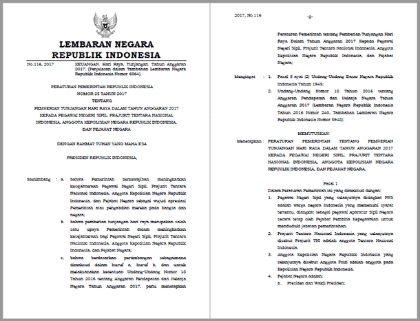 Berikut ini adalah berkas Peraturan Pemerintah PP Nomor  PP Nomor 25 Tahun 2017 Tentang Pemberian THR Bagi PNS, TNI, POLRI dan Pejabat Negara