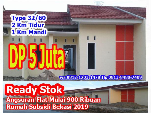 RUMAH SUBSIDI READY STOK DP 5JT DI BEKASI TAMBUN UTARA SRIMAHI