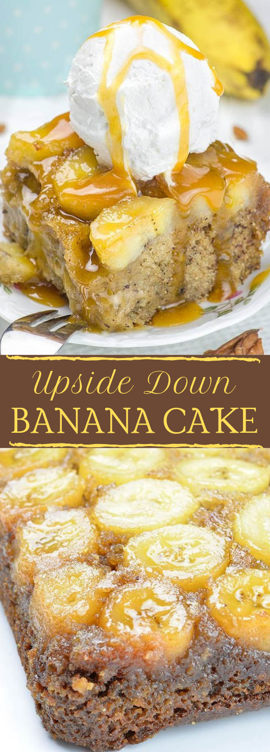 Banana Upside Down Cake #cake #banana #dessert #pie #pumpkin
