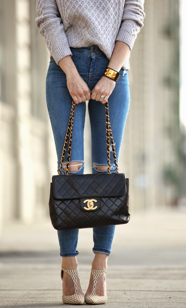 Topshop Ripped Skinny Jeans Vintage Chanel Bag